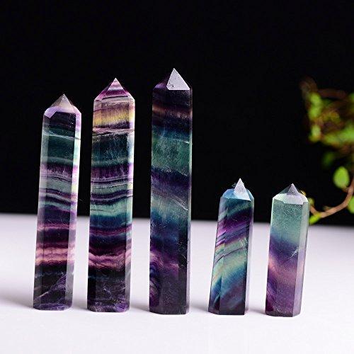 Tuscom Natural Hexagonal Healing Crystal Quartz,Natural Fluorite Crystal Bar,Eliminate The Negative Energy Wand Stone (5-6cm)
