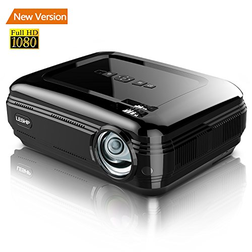 Projector/Projecteur,2017 LESHP 3200 Lumens Mini Portable Projector, Multimedia 1080p HD Home Video LED Projector For Home Theater Movie Video Games Support HDMI USB SD Card VGA AV Input for PC Laptop/PS4/Xbox/Android Box etc (Noir)