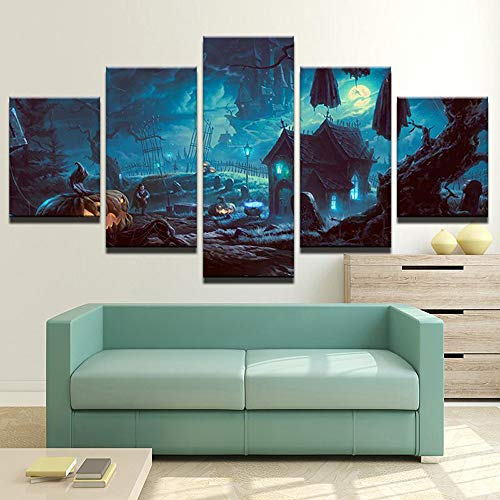 - PEACOCK JEWELS [Small] Premium Quality Canvas Printed Wall Art Poster 5 Pieces / 5 Pannel Wall Decor Haunted Cemetery Painting, Home Decor Pictures - Stretched