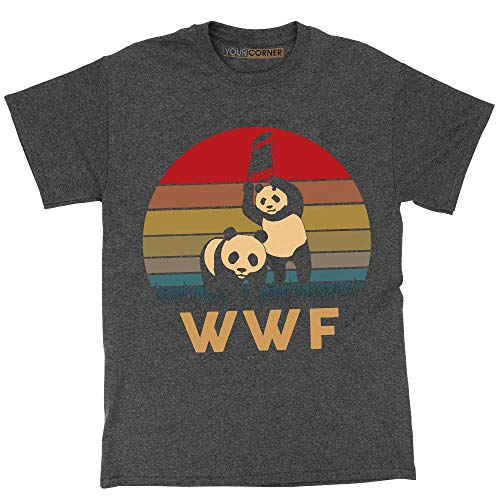 8186203c3c1d8 WWF Panda Vintage Retro T-Shirt WWE Wrestling Dark Heather