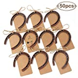 OurWarm 50pcs Good Lucky Horseshoe Gift with Kraft Tags for Rustic Wedding Favors Decoration, Hanging Barn Wedding Horseshoe Gift
