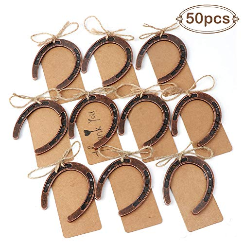 OurWarm 50pcs Good Lucky Horseshoe Gift with Kraft Tags for Rustic Wedding Favors Decoration, Hanging Barn Wedding Horseshoe Gift For Sale