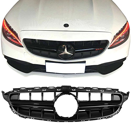Amg Front Bumper - Front Grille Fits 2015-2018 Mercedes-Benz C Class W205 | Sport E63S Vertical AMG Style Black Grill Front Bumper Hood Exterior by IKON MOTORSPORTS | 2016 2017