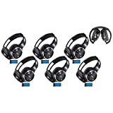 6 Pack of Two Channel Folding Adjustable Universal Rear Entertainment System Infrared Headphones 6 Additional 48'' 3.5mm Auxiliary Cords Wireless IR DVD Player Head Phones Car TV Video Audio Listening