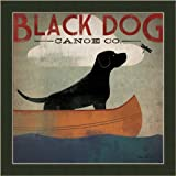 Black Dog Canoe Co. by Ryan Fowler Whimsical Labrador Sign Wall Art Print Framed Décor