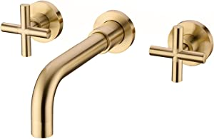 TRUSTMI Bathroom Faucet, 2-Handle Wall Mounted Bathroom Sink Faucet and Rough in Valve Included, Brushed Gold