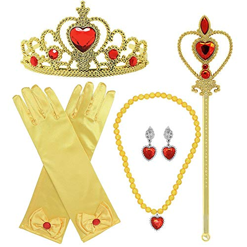 dmazing Belle Toys for 3-8 Year Old Girls, Belle Dress Princess Dress for Girls 4-6 Belle Party Supplies Birthday Gifts for 3-8 Year Old Girls Christmas Xmas Stocking Stuffers Stocking Fillers Yellow