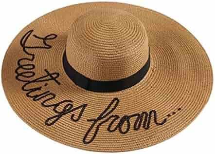 8729dfe0f54 JOYEBUY Womens Wide Brim Embroidery Straw Hat Floppy Foldable Roll up Cap Beach  Sun Hat