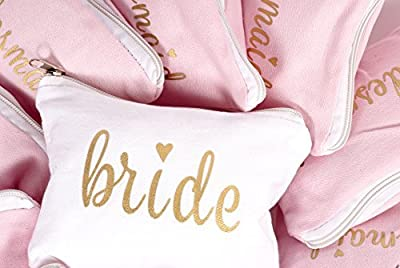 Bridesmaid and Bride Makeup Bags for Bachelorette Parties, Weddings and Bridal Showers (11 Piece Set)