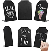 6 Inch Small Black Erasable Chalkboard Memo Message Signs, Wedding & Event Place Cards, Set of 6