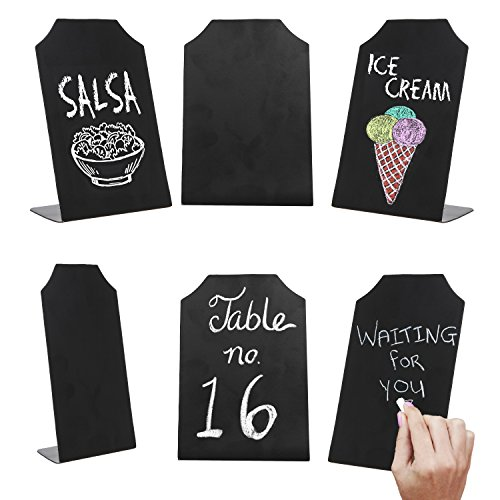 - MyGift 6 Inch Small Black Erasable Chalkboard Memo Message Signs, Wedding & Event Place Cards, Set of 6