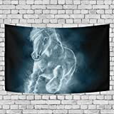 JSTEL White Horse Running Clouds Tapestry Wall Hanging Decoration for Apartment Home Decor Living Room Table Throw Bedspread Dorm 80x60 inches