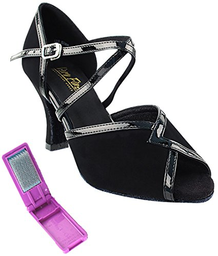 Ballroom Nubuck Shoes Brush 2721 Heel Fine Dance Black Foldable Trim Tango Women Inch 5 Very black 2 Salsa Bundle Latin for 5fxYWUp