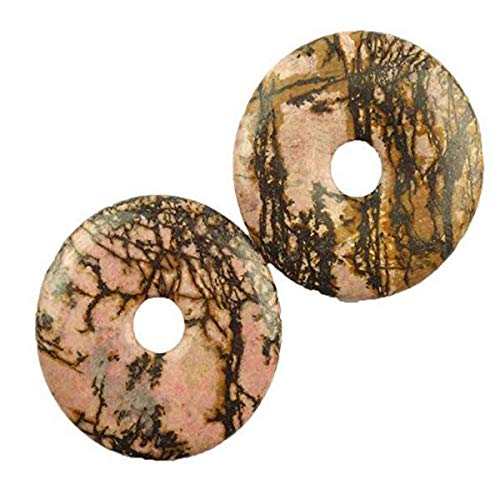 yt (2 Pieces/lot) Rhodonite Donut Pendant Bead 40x5mm