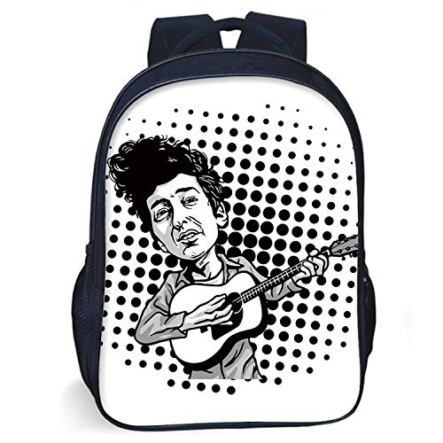 Bob Dylan Decor Durable Schoolbag,Pop Art Cartoon Style Musician Playing Guitar Folk Music Singer Icon Decorative for student,One size