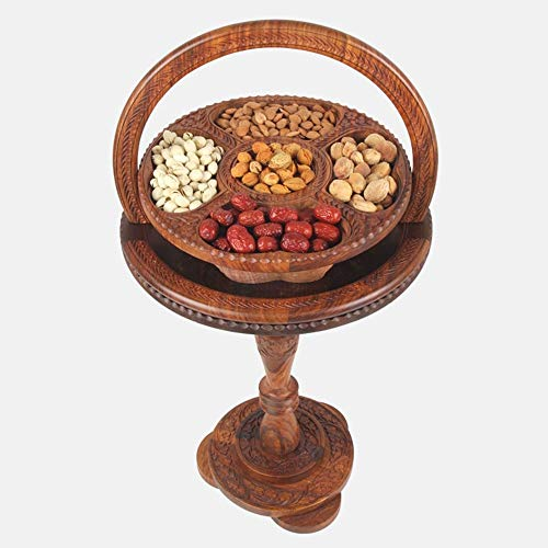 AILIUJUNBING Woodcarving fruit basket solid wood folding basket creative handmade household fruit plate snack candy basket table, 4a24 inch 60 cm