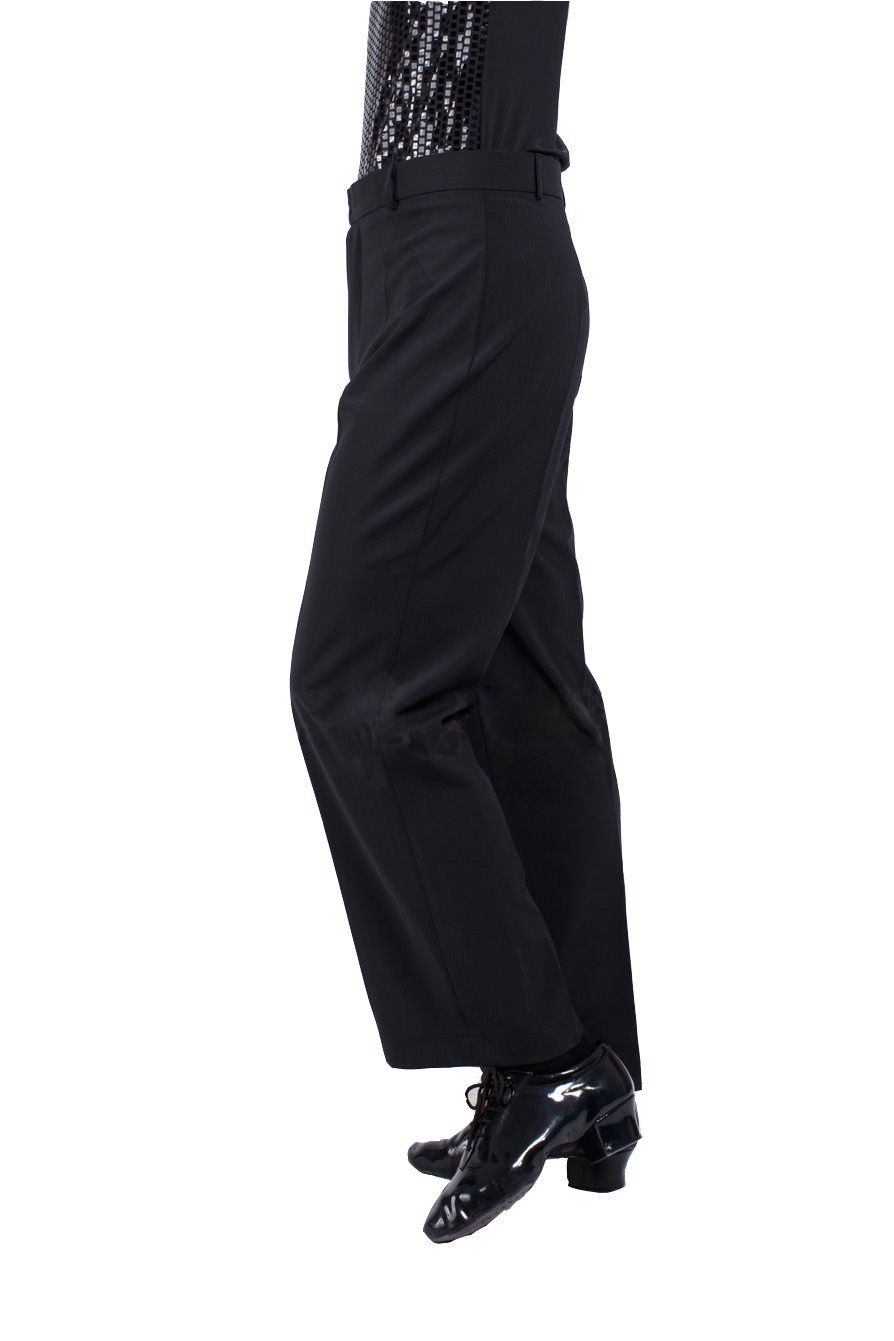 JS CHOW Men's Ballroom Modern Tango Practice Competition Dance Trousers Black (XL) by JS CHOW