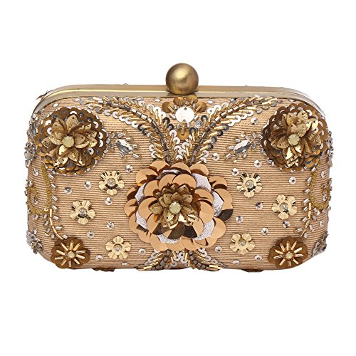 Lined Silk Clutch - MONOKROME NEW YORK Ellsworth hard box framed and hand embroidered gold evening clutch