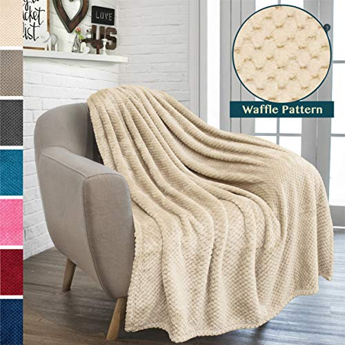 PAVILIA Premium Flannel Fleece Throw Blanket for Sofa Couch | Latte Waffle Textured Soft Fuzzy Throw | Warm Cozy Microfiber | Lightweight, All Season Use | 50 x 60 Inches