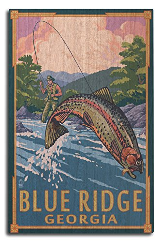 - Lantern Press Blue Ridge, Georgia - Angler Fly Fishing Scene (Leaping Trout) (10x15 Wood Wall Sign, Wall Decor Ready to Hang)