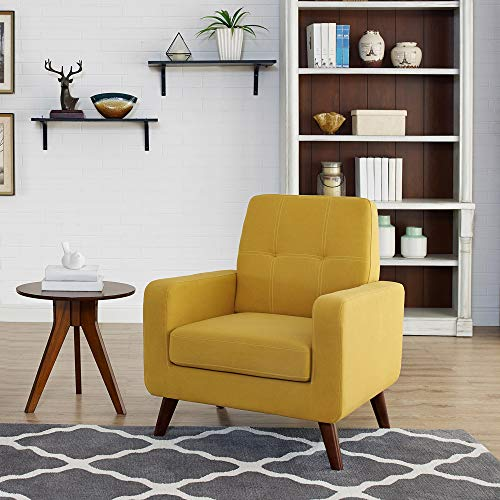 Dazone Modern Upholstered Accent Chair Comfy Armchair Tufted Button Linen Fabric Single Sofa Arm Chair Living Room Furniture Yellow 2019 Updated