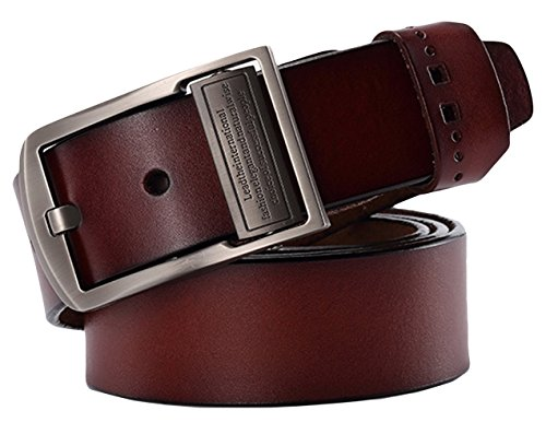 Belt Wine (La Vogue Men's Retro Leather Belt with Polished Buckle Dress Belt Wine)