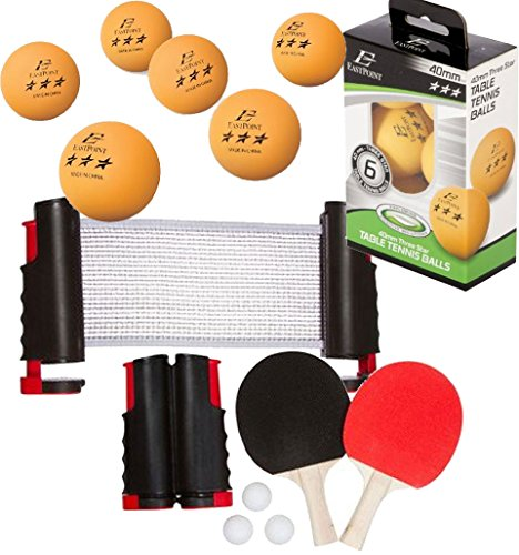 Bundle Includes 3 Items - Trademark Innovations Anywhere Table Tennis Set with Paddles and Balls and 2 EastPoint Sports 40mm 3-Star Table Tennis Balls - Orange (6-Pack) - 12 Total by Trademark Innovations and EastPoint Sports
