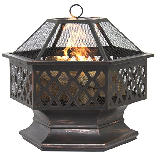 BCP Hex Shaped Fire Pit Outdoor Home Garden Backyard Firepit Bowl Fireplace - Arch Bowl Chandelier