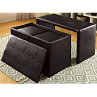 Furniture of America CM-BN6196DB-3A Ellie Espresso Nesting Bench and Ottoman Seating