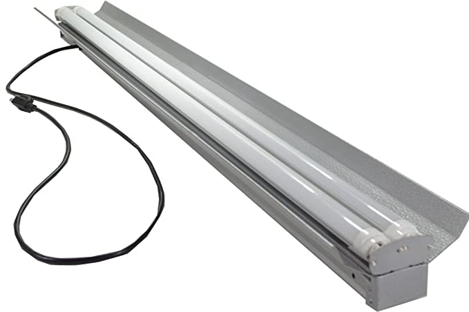 Grey 48 Watt Hanging 4 Foot 2 Light Shop Light With Pull Chain 2x Led T8 24w Tubes 6500k 30 Brighter Than 18w Leds