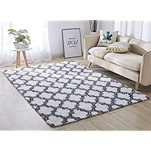 ACTCUT Super Soft Indoor Modern Shag Area Silky Smooth Rugs Fluffy Anti-Skid Shaggy Area Rug Dining Living Room Carpet Comfy Bedroom Floor 4- Feet by 5- Feet (WhiteTrellis)