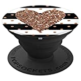 White Black Stripes Golden Heart Expanding Phone Pop Socket - PopSockets Grip and Stand for Phones and Tablets