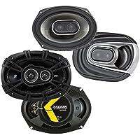 Polk Audio 6x9 450W Coaxial Speakers + Kicker 6x9 360W 3-Way Coaxial Speakers