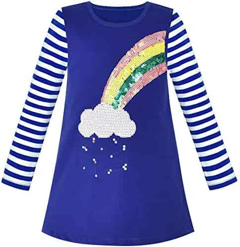 a4037650 Sunny Fashion Girls Dress Long Sleeve Christmas Snowman Holiday Party Size  5-12