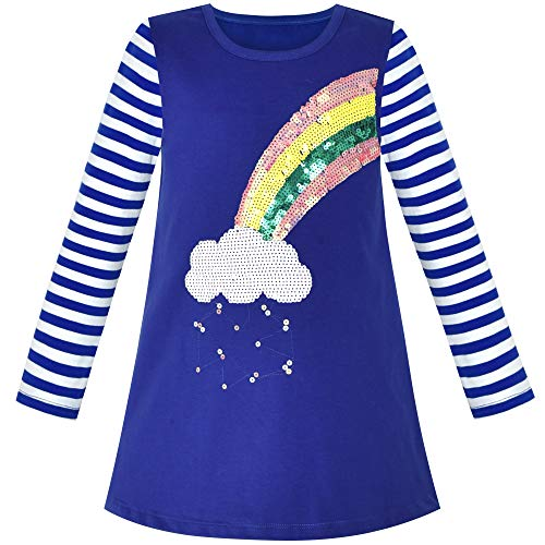Girls Casual Dress Rainbow Sequins Embroidered Long Sleeve Size 2
