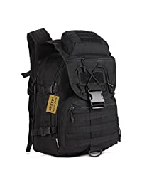 Protector Plus Tactical Military Backpack Gear 900D Nylon Sport Outdoor Assault Pack Rucksack Molle Bag For Hunting Camping Trekking Travel (Black)