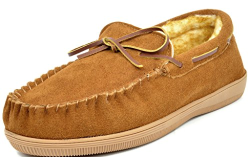 DREAM PAIRS Men's Fur-Loafer-01 Tan Suede Slippers Loafers Shoes Size 7.5 M US