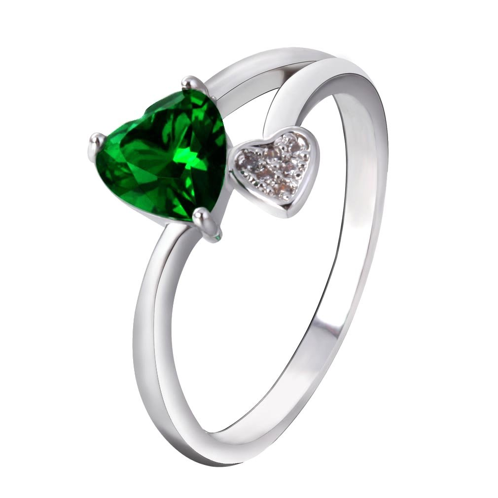 YAZILIND Silver Plated Green Cubic Zirconia Heart Cute Eternity Ring Love Promise Wedding Band Size8