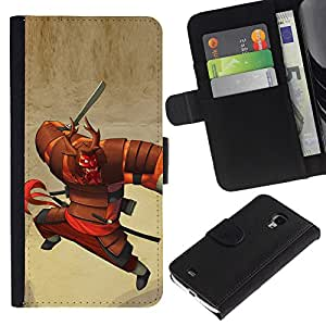 KingStore / Leather Etui en cuir / Samsung Galaxy S4 Mini i9190 / Dessin animé japonais Guerrier
