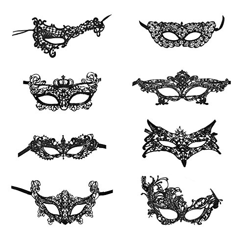 Coobey 8 Packs Lace Masquerade Mask Venetian Eyemask Women Sexy Eye Mask for Halloween CarnivalParty Costume Ball, Black