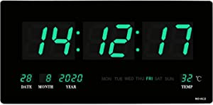"""18.5"""" Large Oversized LED Wall Clock Indoor Temperature, Calendar Display with Date and Day of Week,Memory Function,Mounted Electric Wall Desk Clock Timer-Green"""