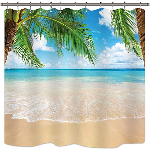 Riyidecor Ocean Coastal Shower Curtain Summer Beach Seaside Scene Palm Trees Island Blue Decor Fabric Set Polyester Waterproof 72x72 Inch 12 Pack Plastic Hooks -