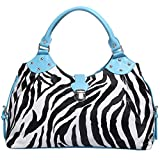 FASH Large Zebra Print Satchel Style Top Handle Handbag,Blue,One Size
