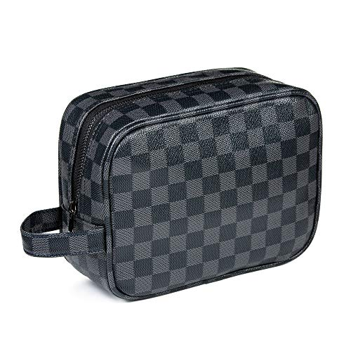 Luxouria Men Toiletry Travel Pouch | Checkered Makeup Bag for Women (Black), Compact, Portable for Personal Storage, Cosmetics, Make Up | PU Vegan Leather with Zippered Access | Carry-On (Black) (Best Everyday Louis Vuitton Bag)