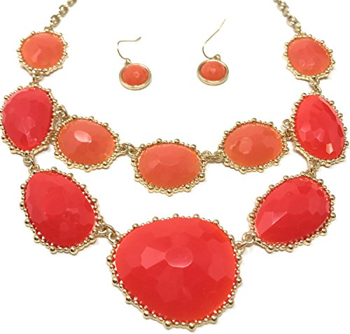 Wholesale Boutique Jewelry Costume (Women's Fashion Bubble Bib Collar Statement Jewelry Earring Necklace Set)