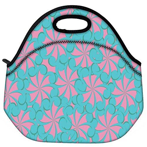 Snoogg blau und rosa Muster, Reisen outdoor tragen Lunch Tasche Picknick Tote Box Container Reißverschluss abnehmbarer Carry Lunchbox Griff Tote Lunch Tasche Food Bag für Schule Arbeit Büro