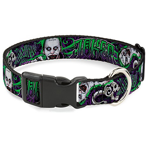 Buckle Down Plastic Clip Collar - Suicide Squad Joker Tattoo/2-Poses/HAHAHA Skull Purples/Greens - 1