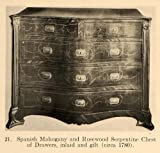 1919 Print Spanish Mahogany Rosewood Serpentine Chest - Original Halftone Print