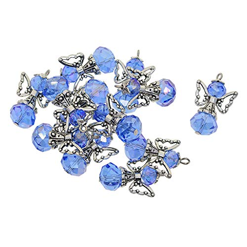 Fenteer 12 Pieces Alloy Filigree Hollow Out Angel Wings Charms Pendant with Crystal Glass Beads Dangle Charm Pendants Jewelry DIY Crafts Bulk - Blue