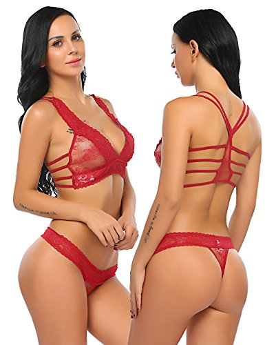 Avidlove Women Lace Lingerie Babydoll 2 Piece Sexy Bra and Panty Set Dark Red S